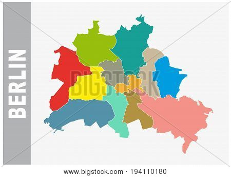 Colorful Berlin administrative and political vector map