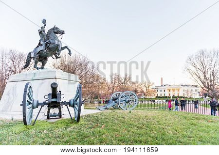 Washington Dc, Usa - March 4, 2017: Andrew Jackson Memorial In Front Of White House With Cannons At