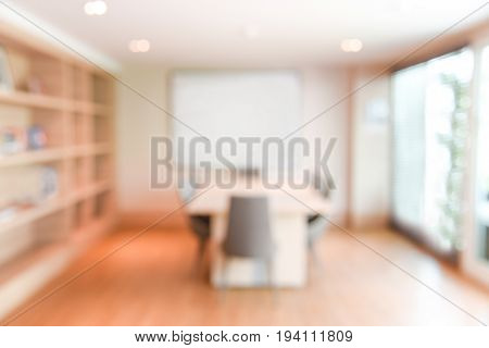 abstract blur office meeting room interior background or backdrop blurred empty vintage boardroom workspace for presentation and teleconference concepts