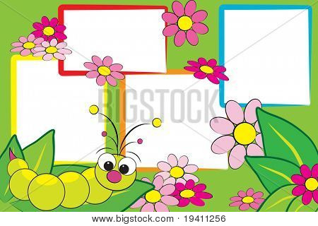 Kid scrapbook with a grub and flowers - Photo frames for children