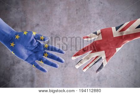 UK and European flag reaching out for a brexit handshake