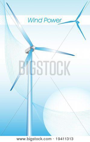 Wind power illustration, green energy