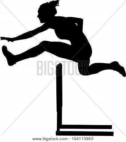 100 m hurdles woman runner athlete black silhouette poster