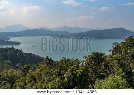 Aerial view of Sun Moon Lake National Scenic Area popular travel destination in Yuchi Township Nantou Taiwan