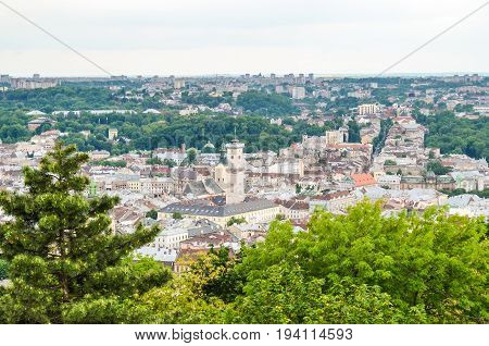 Lviv Ukraine - June 1 2013: Cityscape of downtown old town city from Lysa Hora - the Bald or Barren Mountain