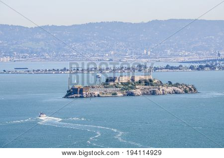 Aerial view of Alcatraz island jail in the San Francisco Bay