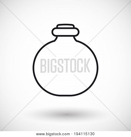 Jar thin line web icon Outline design of potion or chemistry bottle with round shadow isolated on the white background vector illustration