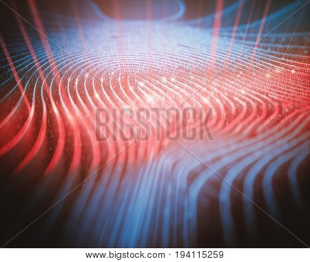 3D illustration. Fingerprint in labyrinth format with binary codes being read by red scanner.
