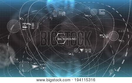black and white futuristic background. Futuristic user interface. Virtual graphic.