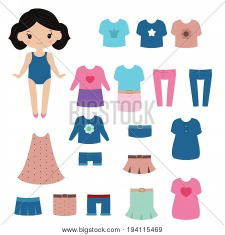 Paper doll with clothing set on white background.