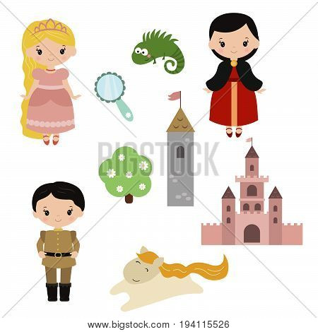 Cute beautiful princess. Princess Rapunzel. Princess theme with castle, prince, carriage.