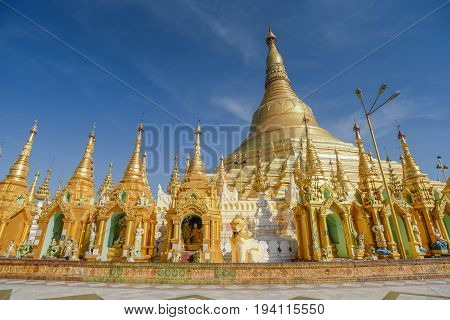 Beautiful golden Shwedagon pagoda (Shwedagon Zedi Daw) famous landmark and travel destination of Yangon Myanmar (Burma)