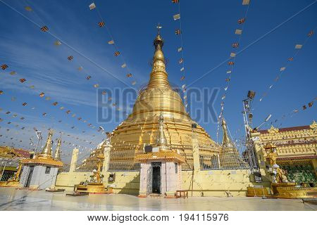 Botataung Pagoda one of famous golden pagoda near Nat Bo Bo Gyi (the name of guardian spirit) in Yangon Myanmar