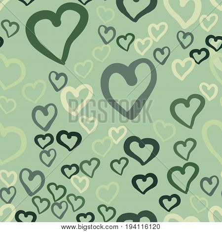Love theme design, hearts valentine's day seamless pattern wallpaper background illustration. Simply hearts seamless vector tile. Valentines day. Flat design endless chaotic texture made of heart silhouettes.