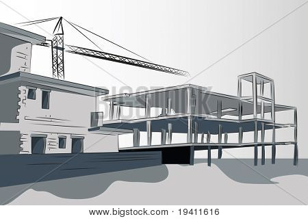 Buildings under construction with crane. Brochure or business card useful