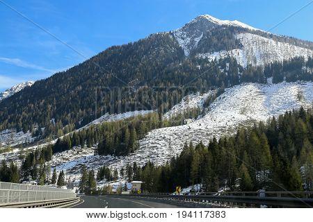 Highway / Motorway in the Alps (Austria) .