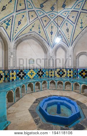 KASHAN IRAN - OCTOBER 20 2016 : Beautiful interior of Sultan Mir Ahmed Hammam (Bathhouse) famous place and tourist attraction Persian culture in Kashan Iran.