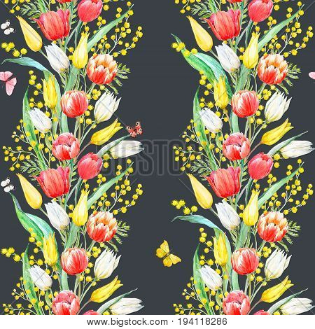 Beautiful seamless pattern with hand drawn watercolor mimosa and tulip flowers