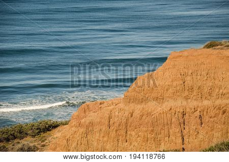 Torrey Pines cliff in pacific ocean in San Diego California with trail