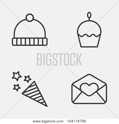 Christmas Icons Set. Collection Of Firecracker, Knitted Cap, Greeting Email And Other Elements. Also Includes Symbols Such As Firework, Greeting, Firecracker.