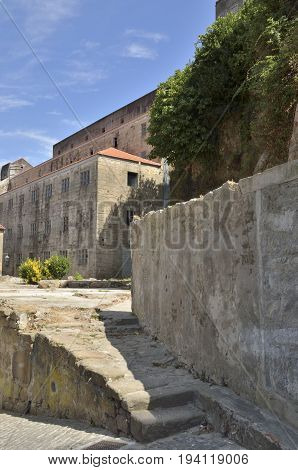 Stone street in the village of Gaia south of the city of Porto on the other side of the Douro River Portugal