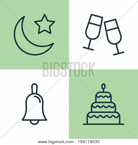 Holiday Icons Set. Collection Of Dessert , Champagne Glasses, Handbell Elements. Also Includes Symbols Such As Moon, Glasses, Clink.