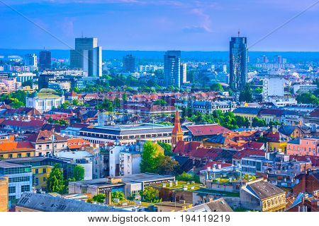 Aerial cityscape of capital town Zagreb in Croatia, popular tourist resort in Europe.