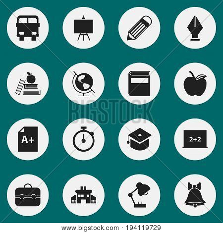 Set Of 16 Editable School Icons. Includes Symbols Such As Kindergarten, Transport Vehicle, Writing Board And More. Can Be Used For Web, Mobile, UI And Infographic Design.