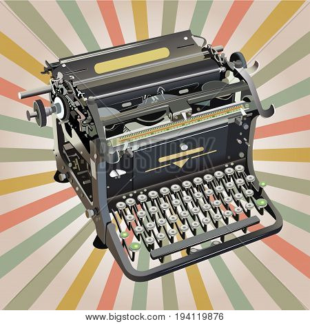 old style vector typewriter on retro background