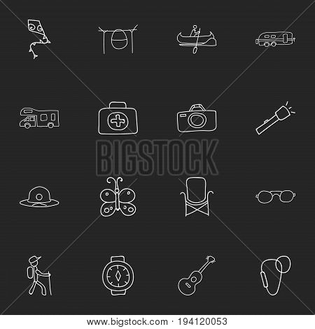Set Of 16 Editable Travel Icons. Includes Symbols Such As Beauty Insect, Hiker, Flying Toy And More. Can Be Used For Web, Mobile, UI And Infographic Design.