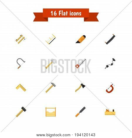 Set Of 16 Editable Instrument Icons. Includes Symbols Such As Malleus, Saw, Knife And More. Can Be Used For Web, Mobile, UI And Infographic Design.
