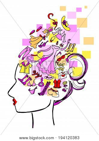 Woman profile with mind full of things to buy. Vector illustration about compulsory shopping.