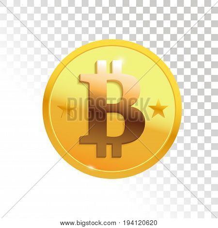 Gold bitcoin. Cryptography currency illustration. Vector element for your design.