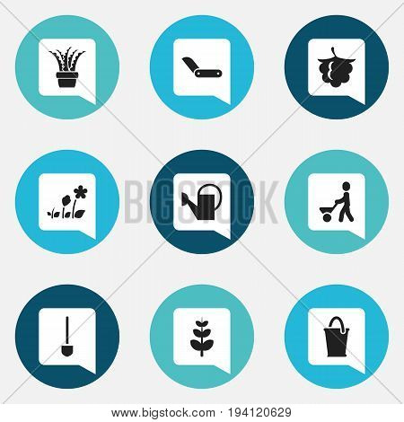 Set Of 9 Editable Planting Icons. Includes Symbols Such As Bailer, Blackberry, Bucket And More. Can Be Used For Web, Mobile, UI And Infographic Design.