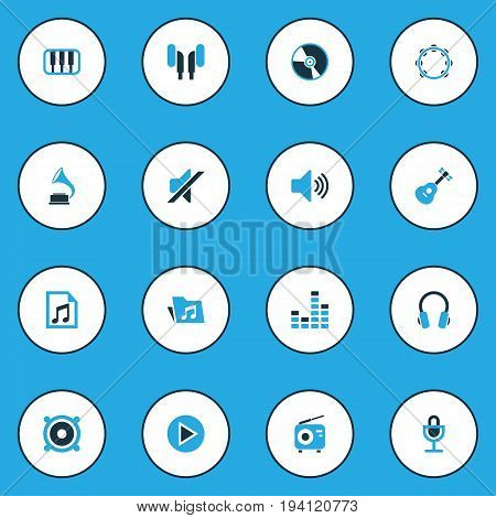 Multimedia Colorful Icons Set. Collection Of Mute, Headset, Folder And Other Elements. Also Includes Symbols Such As Gramophone, Folder, Play.