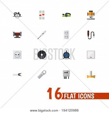 Set Of 16 Editable Instruments Icons. Includes Symbols Such As Switch, Jointer, Cutting And More. Can Be Used For Web, Mobile, UI And Infographic Design.