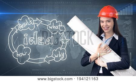 Creative Concept, Beauty Businesswoman Standing With Blueprints On Painted Background Near Idea Orga