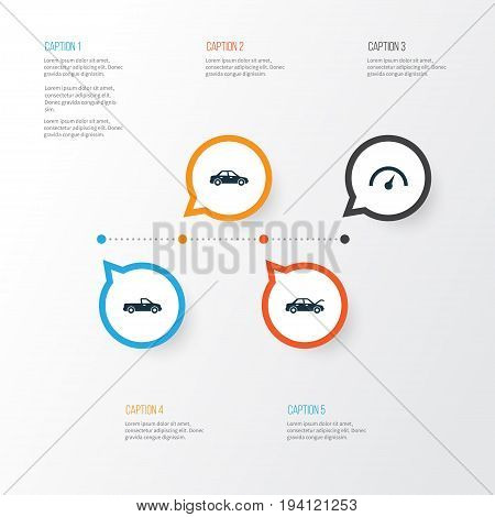 Automobile Icons Set. Collection Of Carriage, Fixing, Automobile And Other Elements. Also Includes Symbols Such As Auto, Speedometer, Hood.