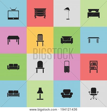 Set Of 16 Editable Interior Icons. Includes Symbols Such As Illuminant, Bed, Ergonomic Seat And More. Can Be Used For Web, Mobile, UI And Infographic Design.