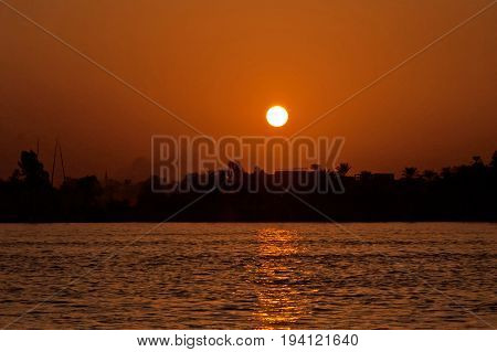Sunset on the river Nile in Egypt Africa