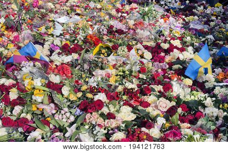 Floral Tributes in Stockholm, truck attack
