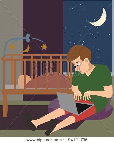 man with laptop babysitting at night near crib - cartoon funny vector illustration