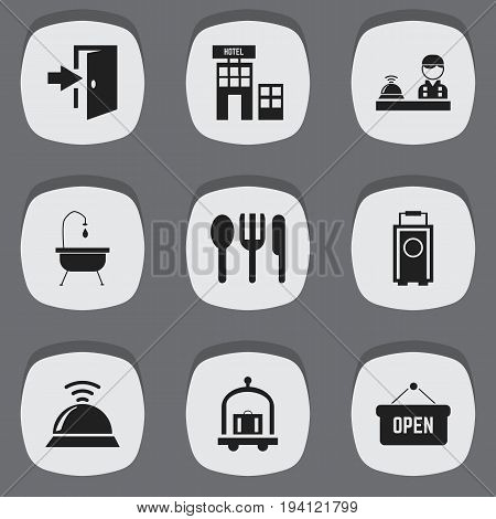 Set Of 9 Editable Motel Icons. Includes Symbols Such As Hotel, Entry, Shower And More. Can Be Used For Web, Mobile, UI And Infographic Design.