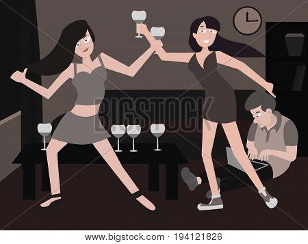 youth home party - funny vector cartoon illustration of young people of different types