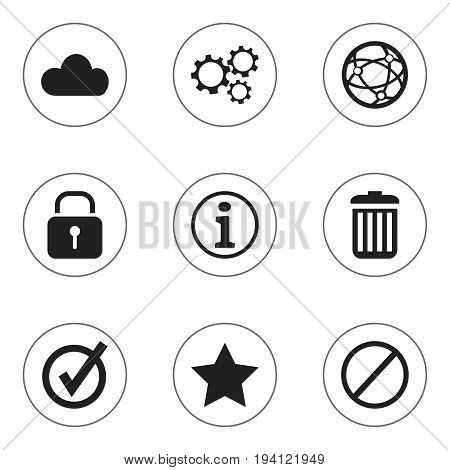 Set Of 9 Editable Internet Icons. Includes Symbols Such As Bookmark, Gear, Approved And More. Can Be Used For Web, Mobile, UI And Infographic Design.