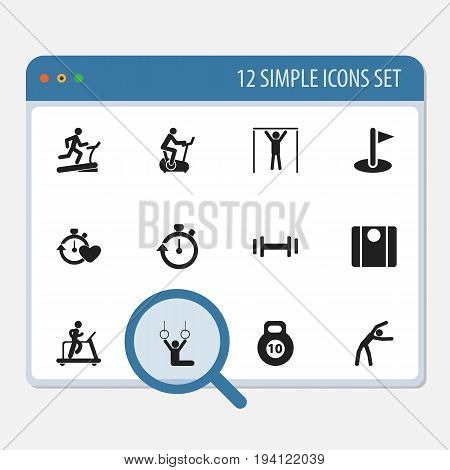 Set Of 12 Editable Lifestyle Icons. Includes Symbols Such As Racetrack Training, Balance, Jogging And More. Can Be Used For Web, Mobile, UI And Infographic Design.