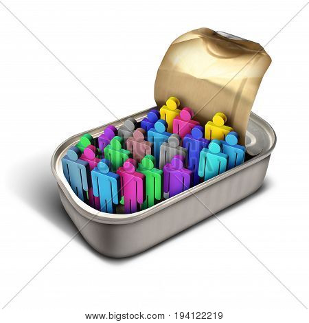 Packed like sardines idiom and over crowded metaphor as a crowd of diverse people icons inside a small can as a business or social and society issue for overpopulation or human services congestion with 3D illustration elements.