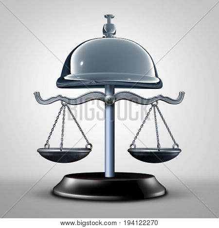 Law service and consumer protection services and attorney or lawyer advice concept as a justice scale shaped as a help bell as a 3D illustration.