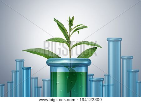 Herbal medicine and natural plant based medication concept as medicinal green leaves inside a laboratory test tube as a homeopathic pharmacy concept with 3D illustration elements.