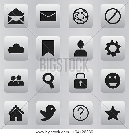Set Of 16 Editable Network Icons. Includes Symbols Such As Magnifier, Settings, Deny And More. Can Be Used For Web, Mobile, UI And Infographic Design.